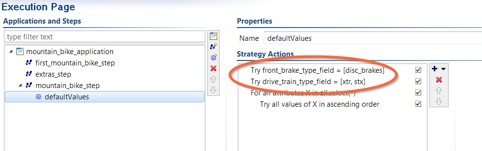 Custom search strategy with two 'Try' actions.